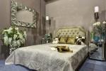Кровать двухспальная бежевый бархат