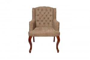 Кресло серо-бежевое бархатное