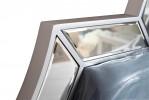 Кровать двуспальная с зеркальными вставками (голубая)
